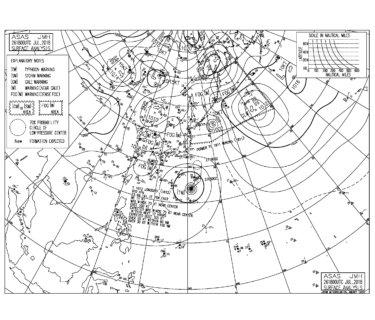 台風12号が本州に向け北上中、寒冷渦へ吸収される危険なパターンに【2018.7.27】