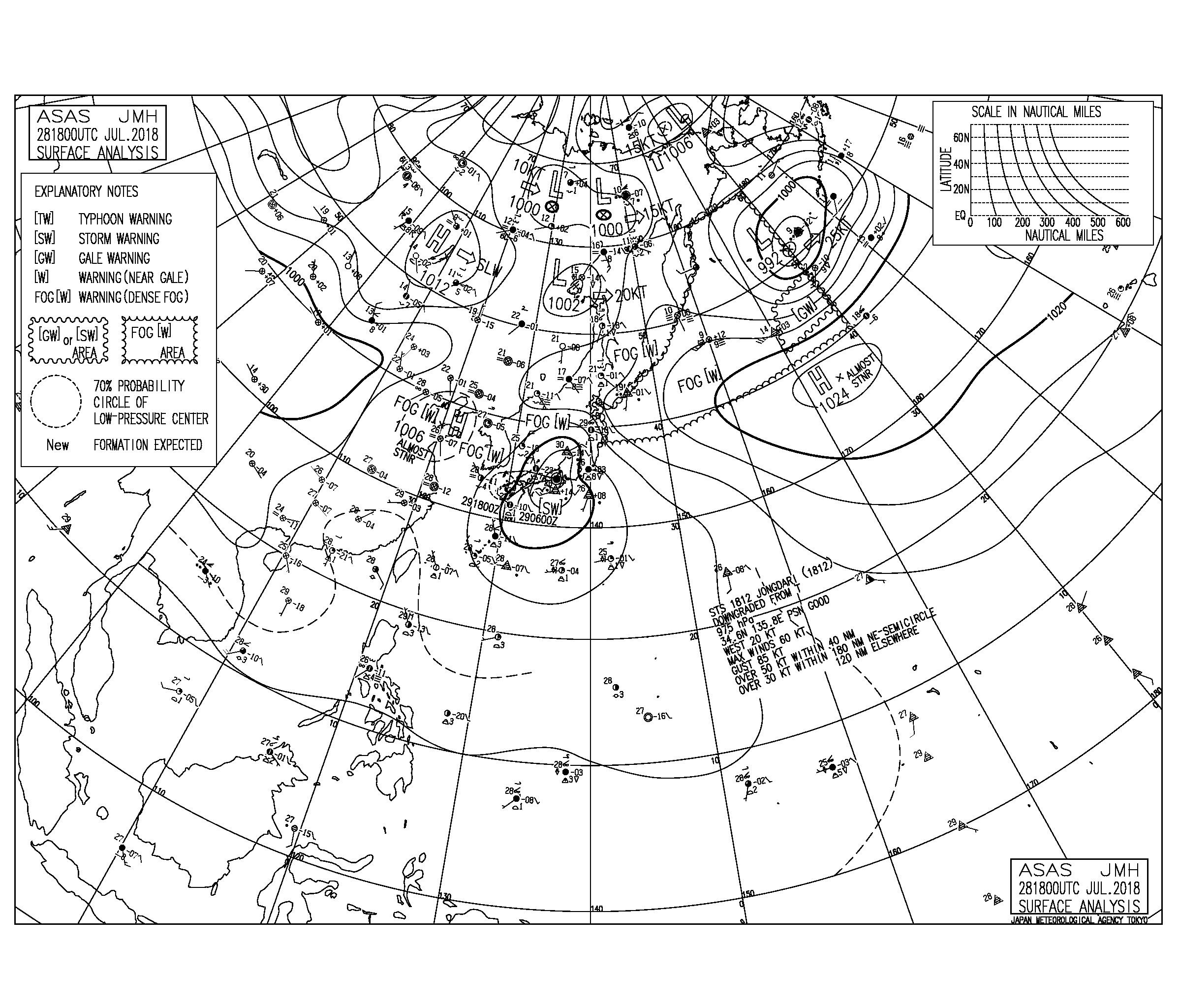 7/29 3:00 ASAS 気圧配置と波情報