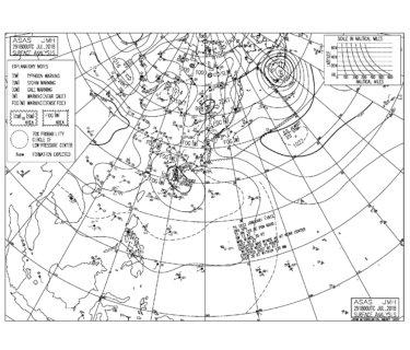 台風12号は九州をゆっくり南下、千葉はサーフィン可能になってきた【2018.7.30】