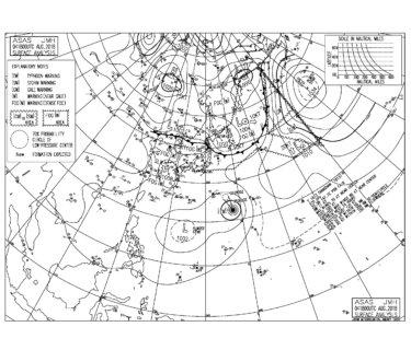 8/5 3:00 ASAS 気圧配置と波情報〜弱い東よりのうねり、台風13号のうねりは明日から