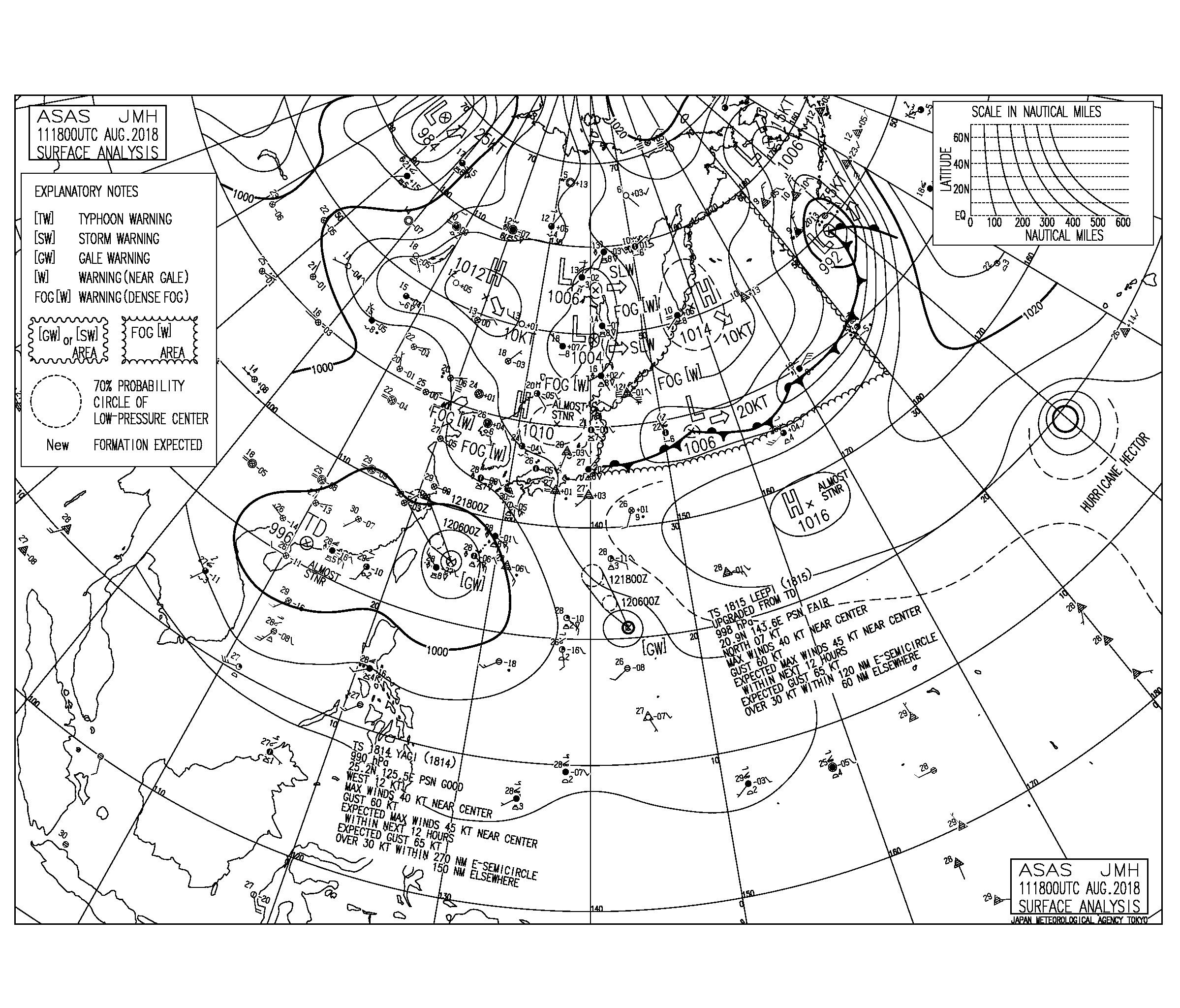 8/12 3:00 ASAS 気圧配置と波情報〜台風15号が発生、大気の状態が不安定なので雷に要注意