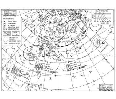 8/13 3:00 ASAS 気圧配置と波情報〜南のうねりで今日もいい波、台風15号は発達しないで九州南部へ