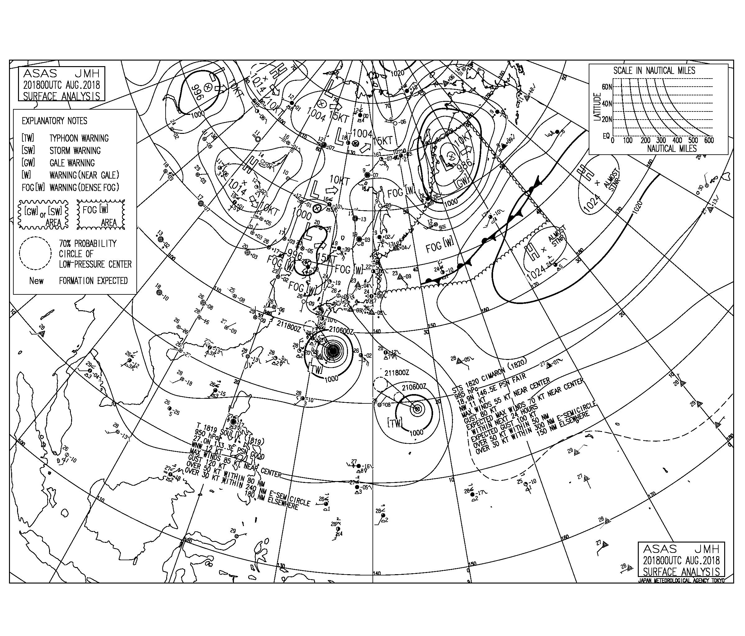 8/21 3:00 ASAS 気圧配置と波情報〜台風19号のうねりはピーク越え、明日後半から20号のうねりが入る