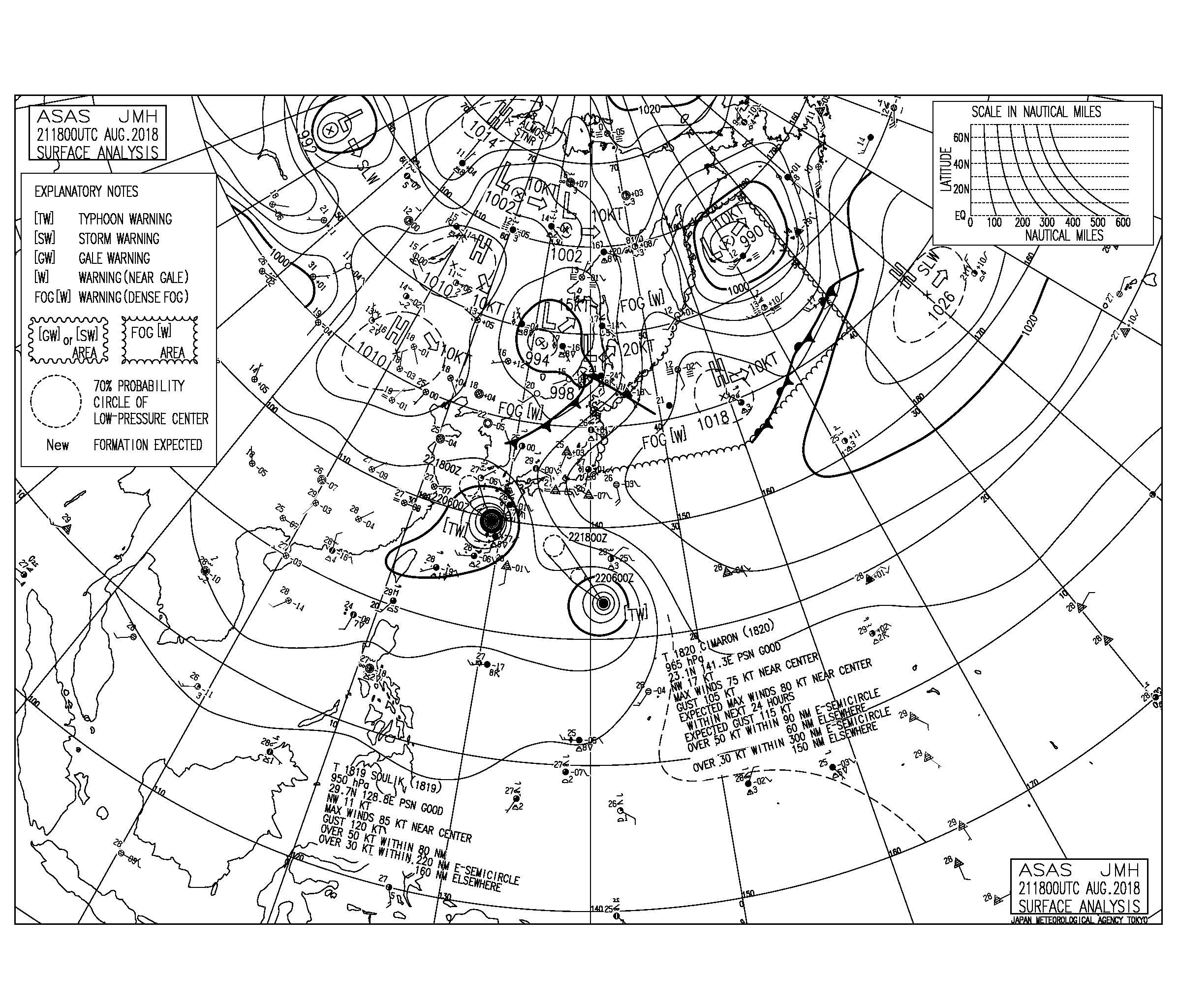 8/22 3:00 ASAS 気圧配置と波情報〜これからさらにうねり強まりクローズへ、台風20号の接近時の速度を要注視