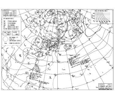 8/24 3:00 ASAS 気圧配置と波情報〜台風20号は昨夜徳島県に上陸後北上し日本海へ、南の風が強く一部除きクローズアウト