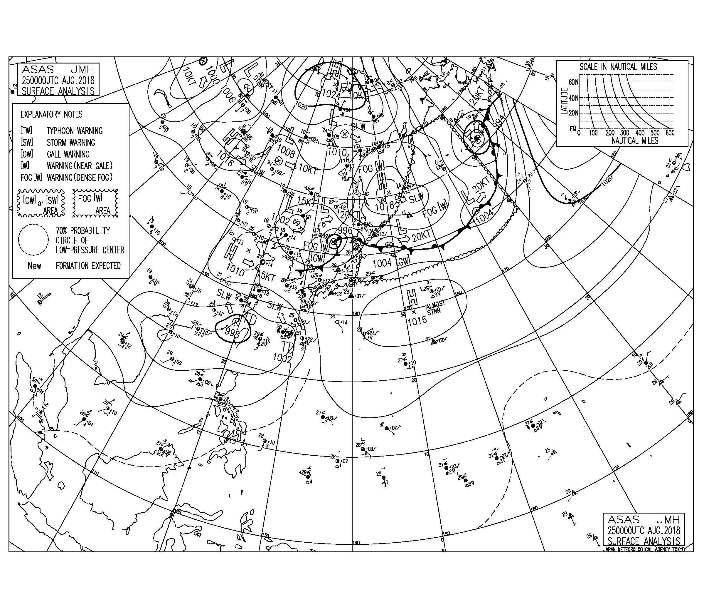 8/25 3:00 ASAS 気圧配置と波情報~朝一から南から南西の強風でジャンクが多い、オフショアのポイントはサイズダウン