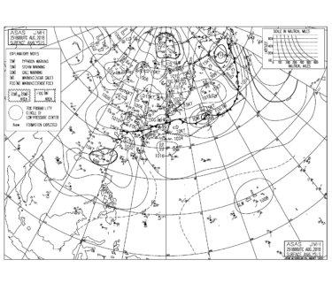 8/26 3:00 ASAS 気圧配置と波情報~強い南風はおさまるも千葉は物足りないサイズに、水温下がってるのでウエット必要