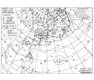 8/27 3:00 ASAS 気圧配置と波情報~千葉は物足りないサイズが続く、湘南は南西うねりに少し反応