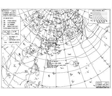 8/28 3:00 ASAS 気圧配置と波情報~同じような気圧配置でスモールコンディション継続、はるか南海上に熱帯低気圧発生