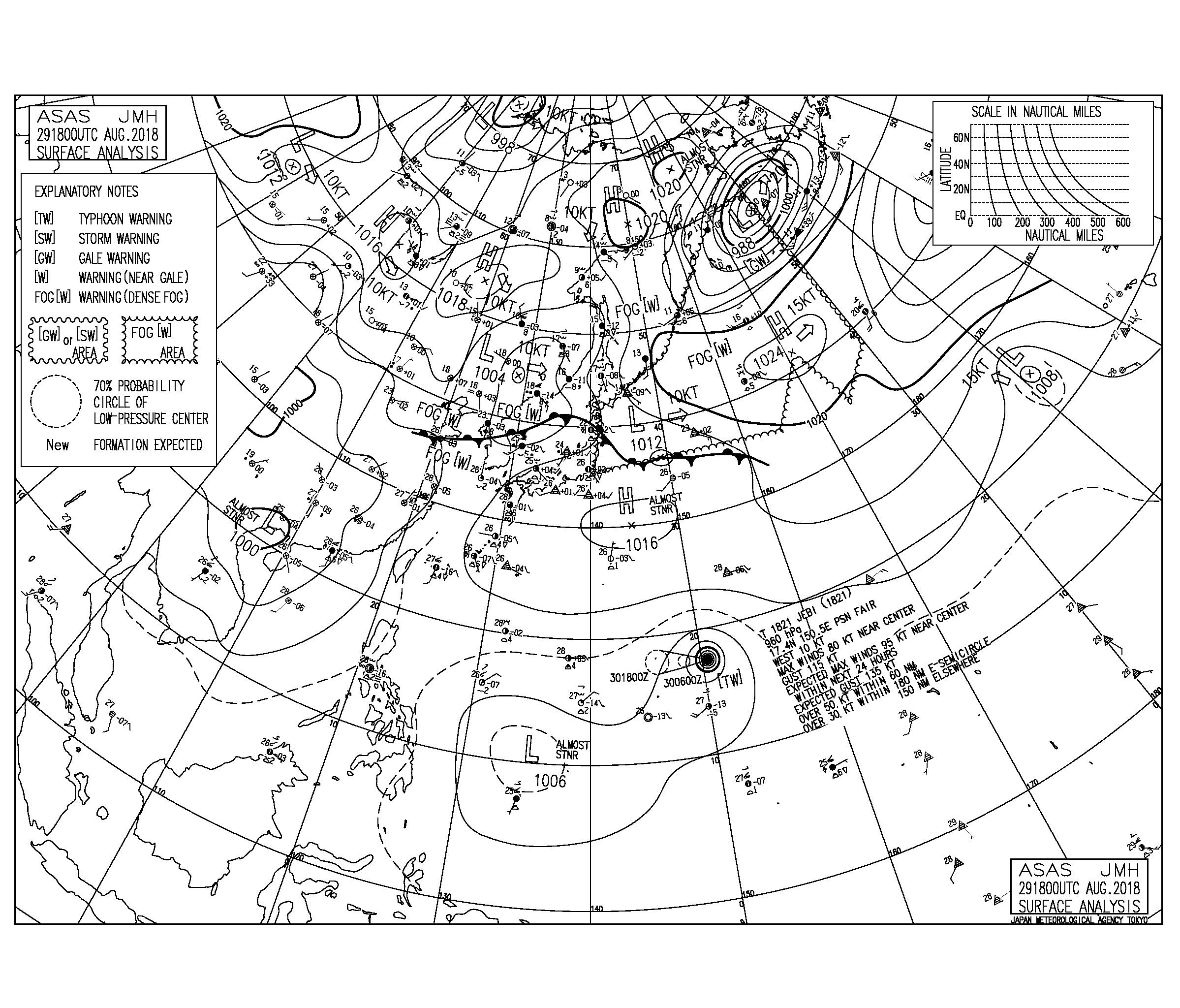 8/30 3:00 ASAS 気圧配置と波情報~台風21号は猛烈な台風になりそう、うねりは土曜の午後から反応しそうか