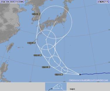 秋雨前線が南下し南西の強い風、台風21号は危険なコースになりそう【2018.8.31】