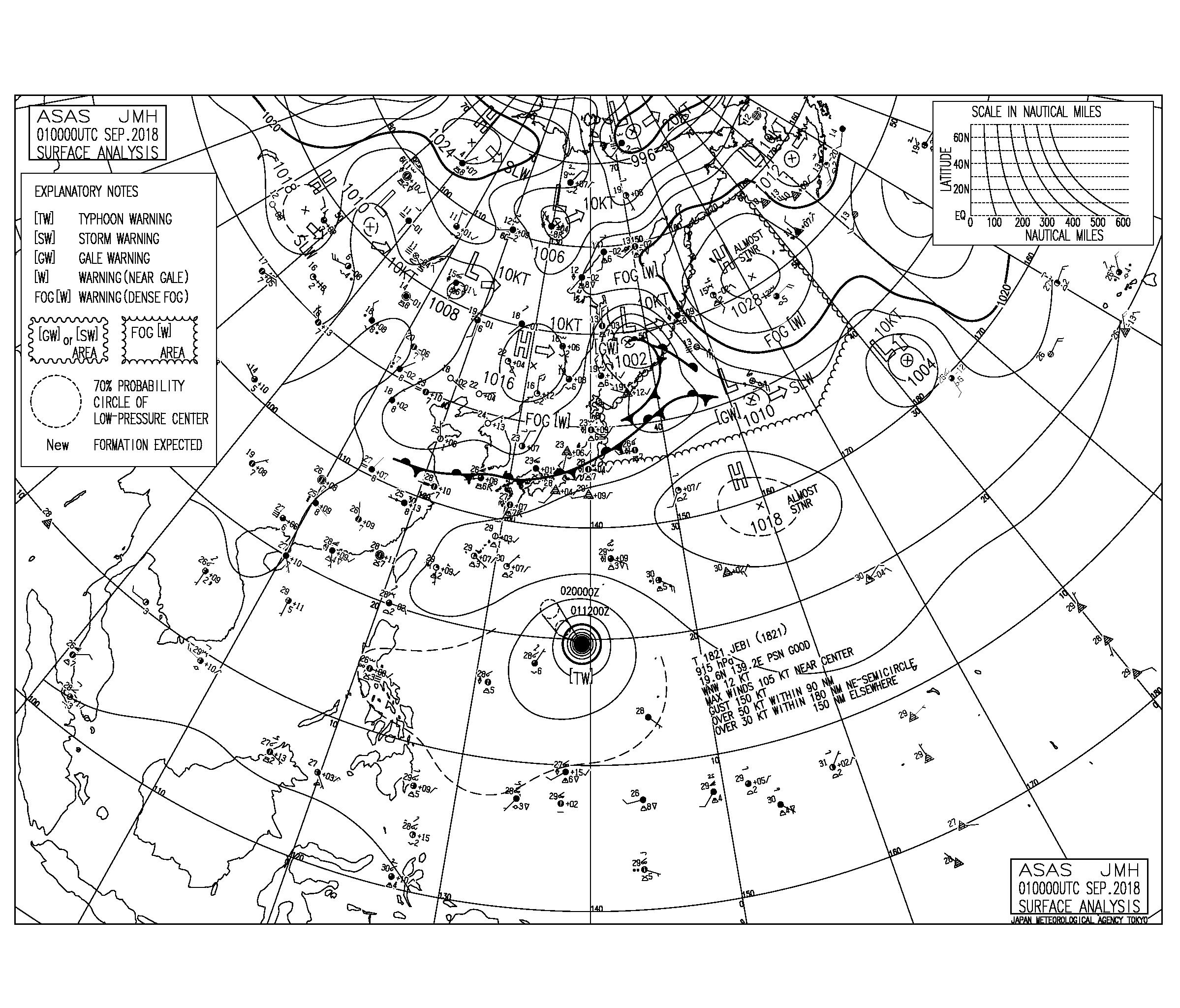 9/1 気圧配置と波情報〜今日も秋雨前線に向けて南西の強い風、台風21号は猛烈な台風となり北上中