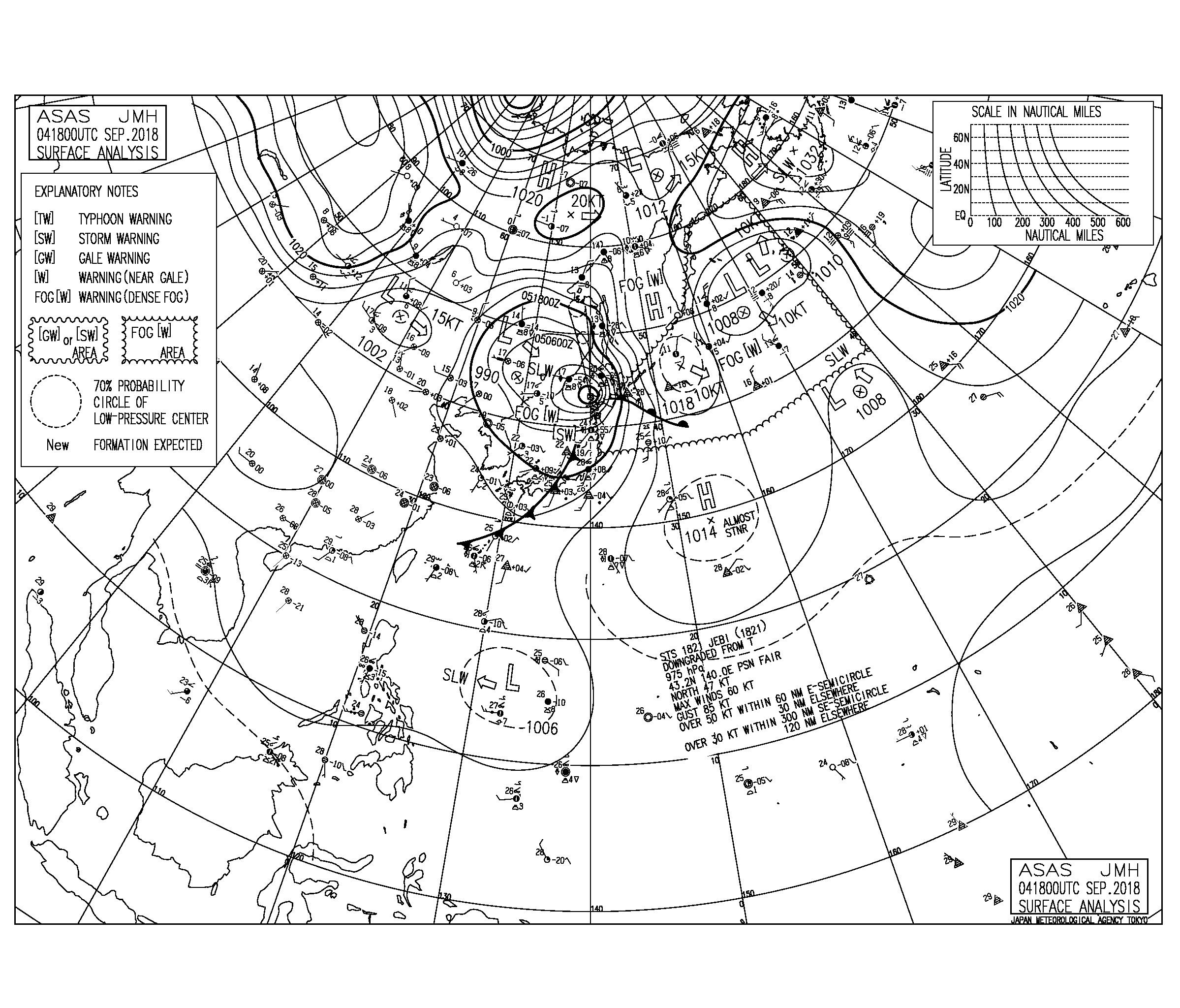 9/5 気圧配置と波情報~台風21号は近畿地方に大きな爪痕残す、フィリピンの東には熱帯低気圧が発生しそう