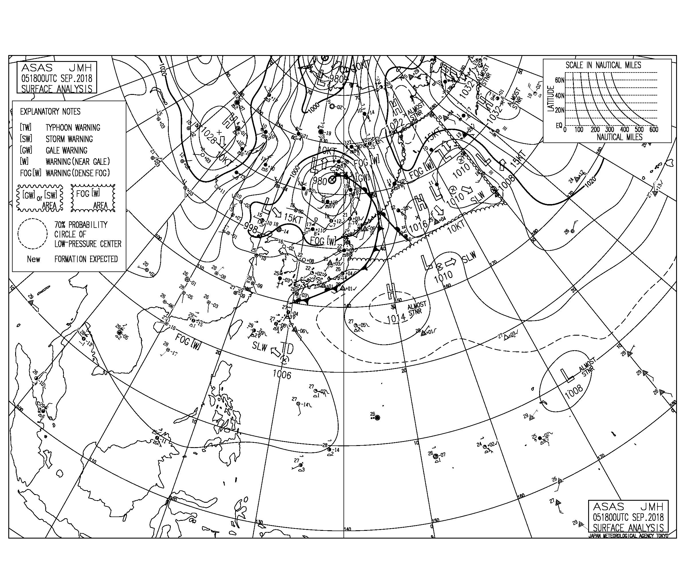 9/6 気圧配置と波情報~マーシャル諸島に新たな低圧部、午前3時に北海道で震度6強が発生