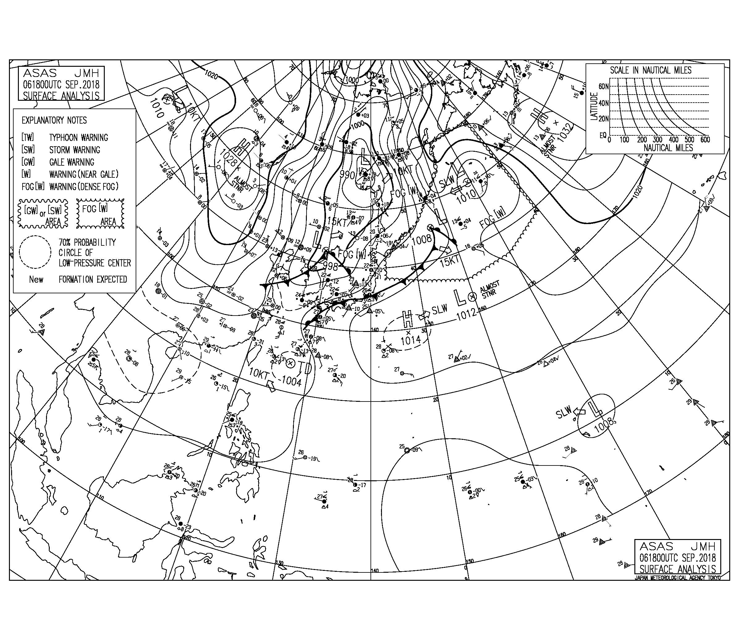 9/7 気圧配置と波情報~台風21号と北海道の震度7で大きな被害、今日は被災地の天候が心配