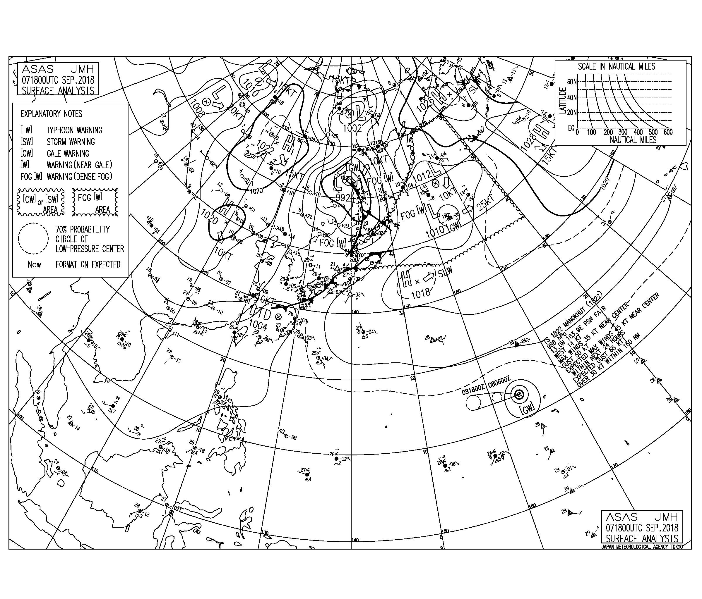 9/8 気圧配置と波情報~昨日台風22号が発生、今日も南西の風が強く吹く気圧配置