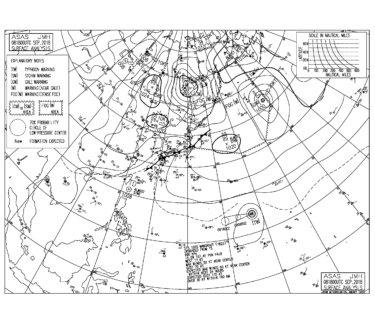 9/9 気圧配置と波情報~今日も南の風で物足りないコンディション、台風22号のうねりは次の週末?