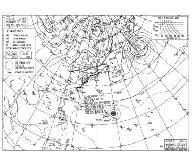 9/10 気圧配置と波情報~千葉湘南ともにプアーなコンディション、明日から風は北東にシフト