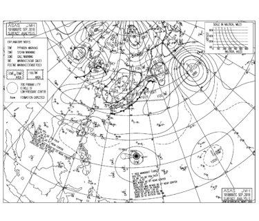 9/11 気圧配置と波情報~前線が南下し今朝は北から北東の強い風、台風22号は発達しながら西進を続ける