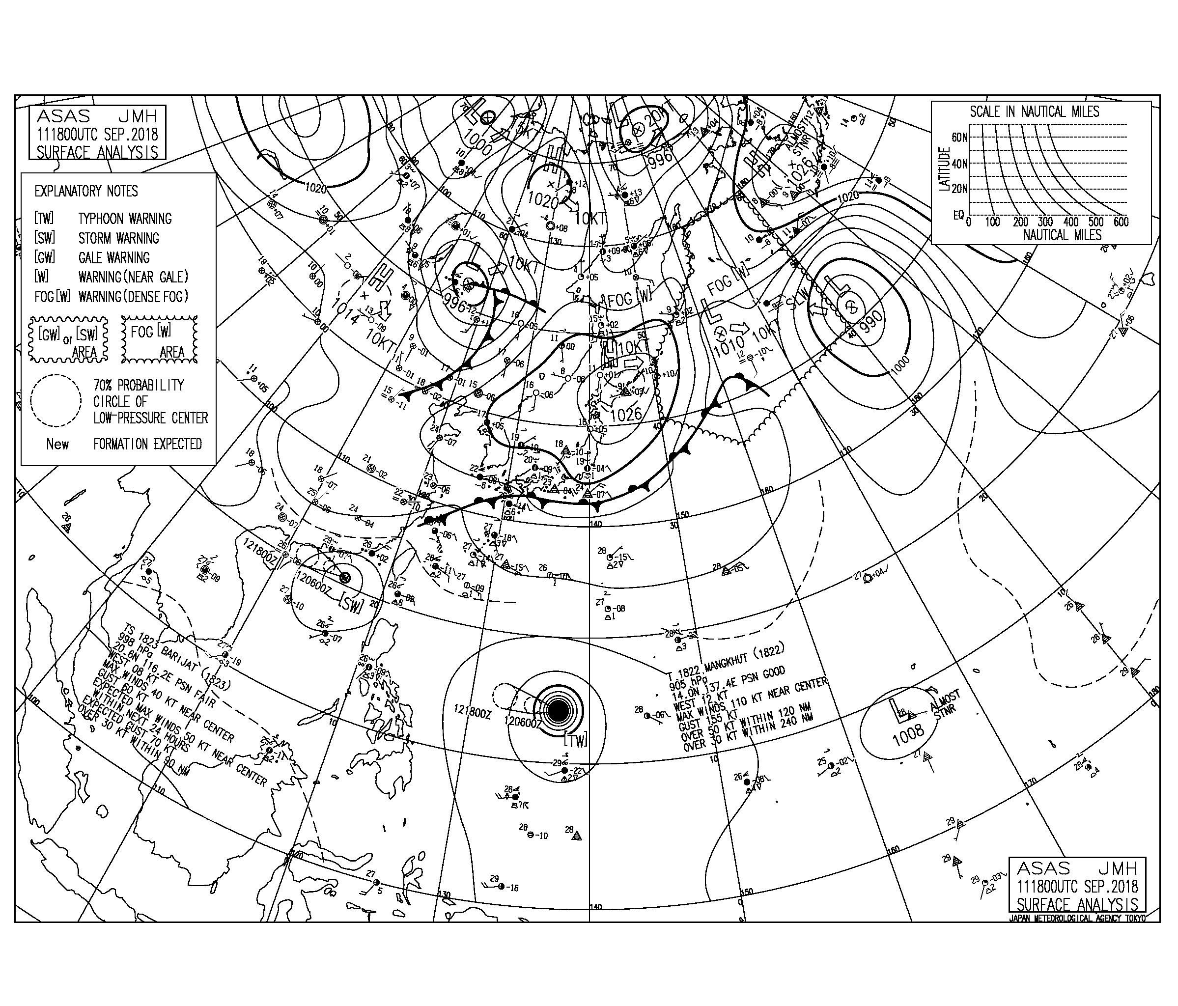 9/12 気圧配置と波情報~今朝も前線に向けて北から北東の風がやや強め、台風22号は猛烈な強さまで発達し西進