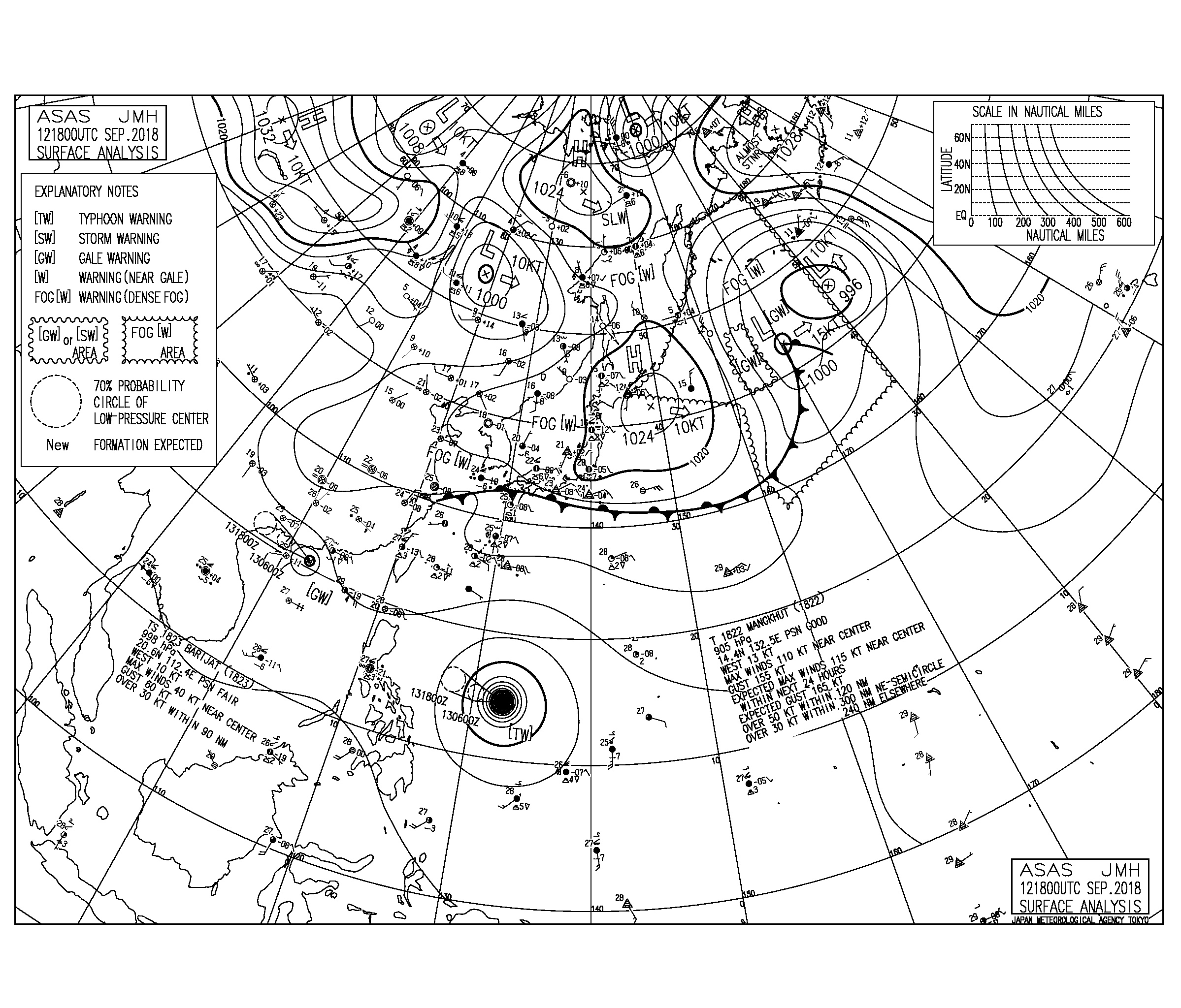 9/13 気圧配置と波情報~高気圧からの東ベースのうねりに反応、台風22号のうねりが西日本に届きはじめる
