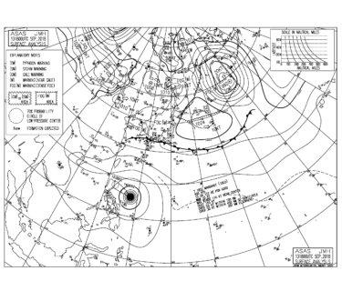9/14 気圧配置と波情報~台風22号のうねりが反応してきてサイズアップ、3連休は楽しめそう!