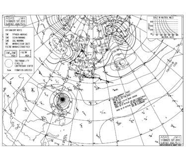 9/15 気圧配置と波情報~台風22号のうねりと高気圧からの吹き出しで波のある連休スタート、22号のうねりはこれから南西にシフト