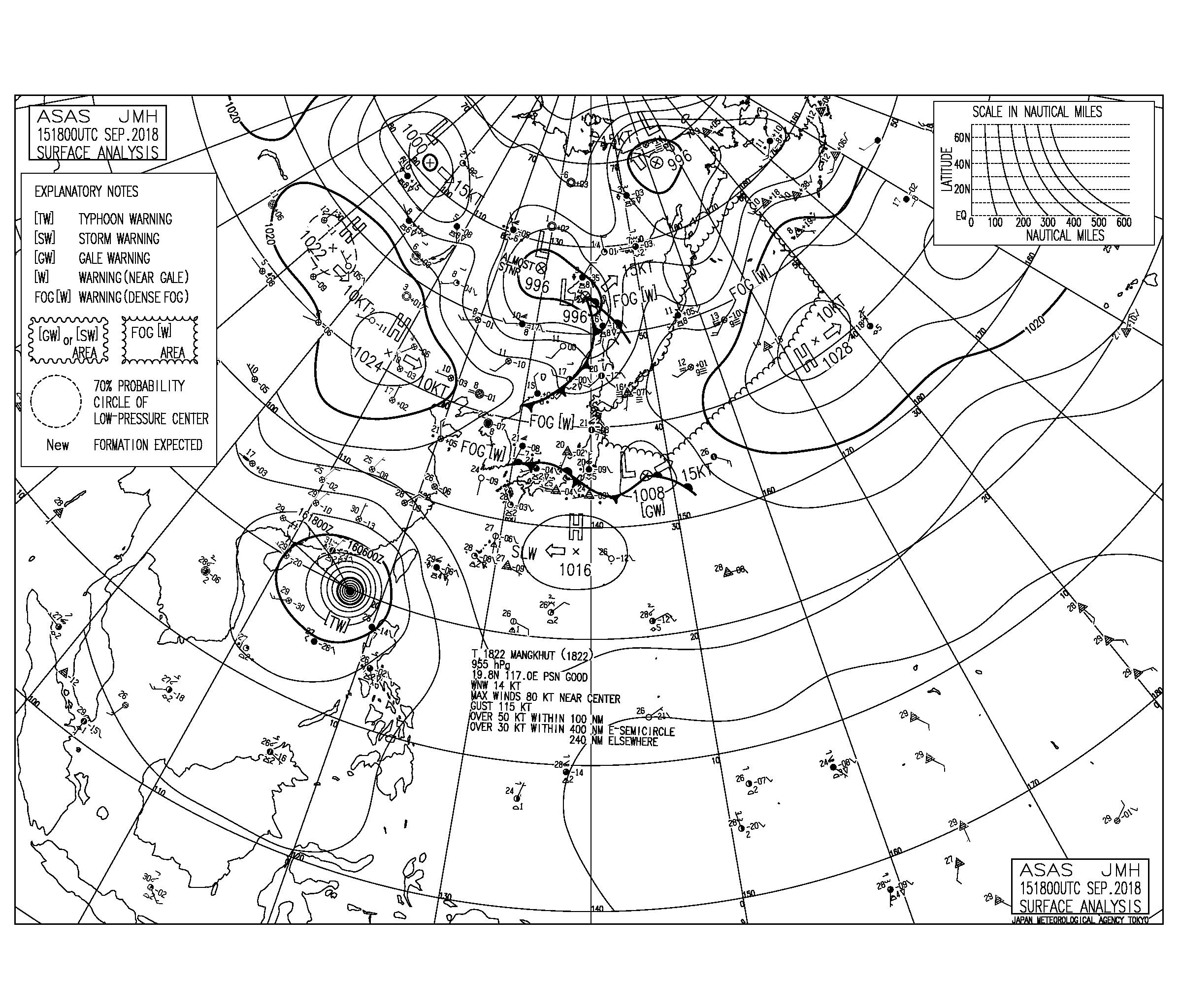 9/16 気圧配置と波情報~台風と高気圧からのうねり、風の影響も少なく今日もいい波