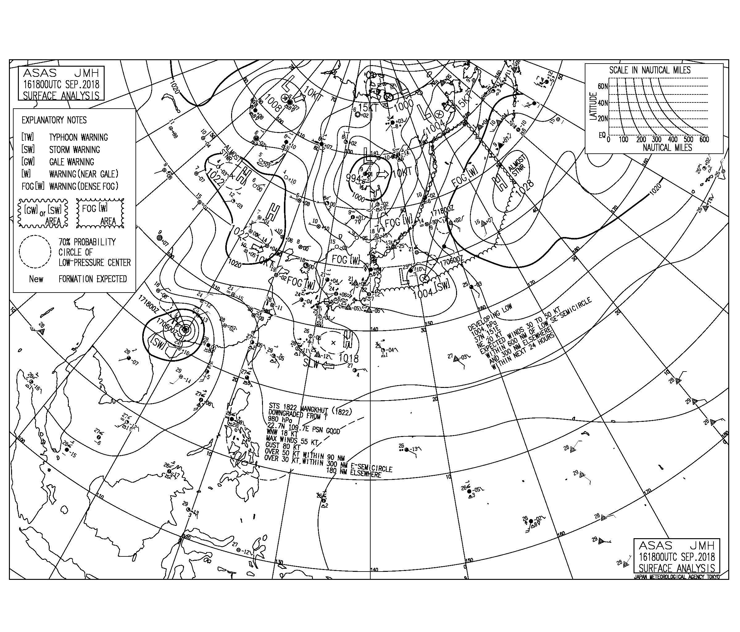 9/17 気圧配置と波情報~台風22号と東からのうねりが十分なサイズで続く、連休最終日もエリアとポイント選べばいい波楽しめる!