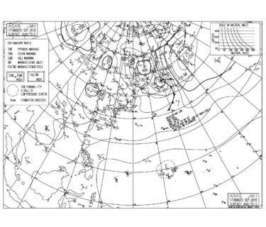 9/18 気圧配置と波情報~台風22号の南西うねりは十分なサイズで続く、今日も一日楽しめそう