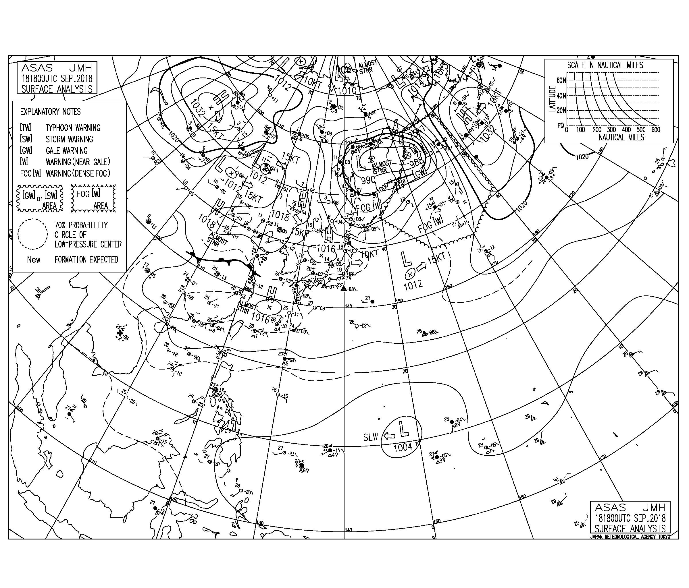 9/19 気圧配置と波情報~台風22号の南西うねりはサイズダウンするも腰腹サイズでまだまだ遊べる!