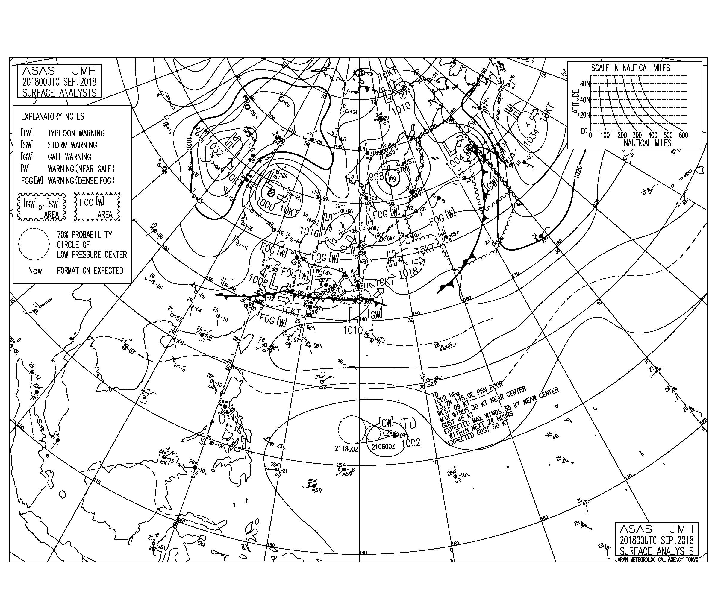9/21 気圧配置と波情報~強い北寄りの風で湘南はフラット、南の海上には熱帯低気圧が発生