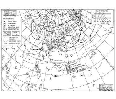 9/22 気圧配置と波情報~南岸を通過した低気圧からのうねりでサイズある連休初日、昨夜南の海上には台風24号が発生