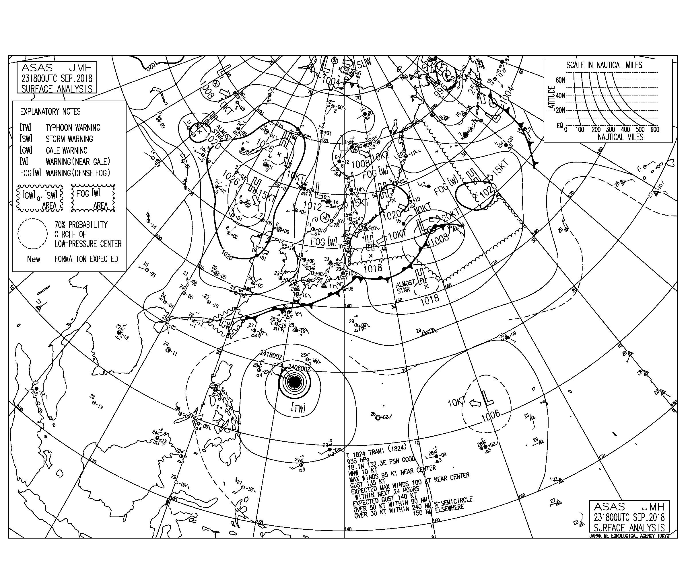9/24 気圧配置と波情報~太平洋側は物足りないサイズとコンディション、次の週末は台風24号のうねりで期待出来そう