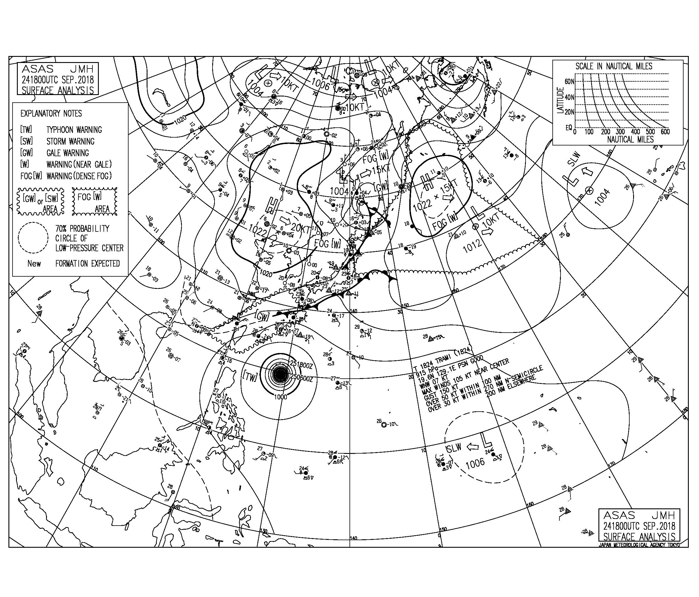 9/25 気圧配置と波情報~、台風24号のうねりが西日本にうっすら反応?週末に向けて体調整えておきたい