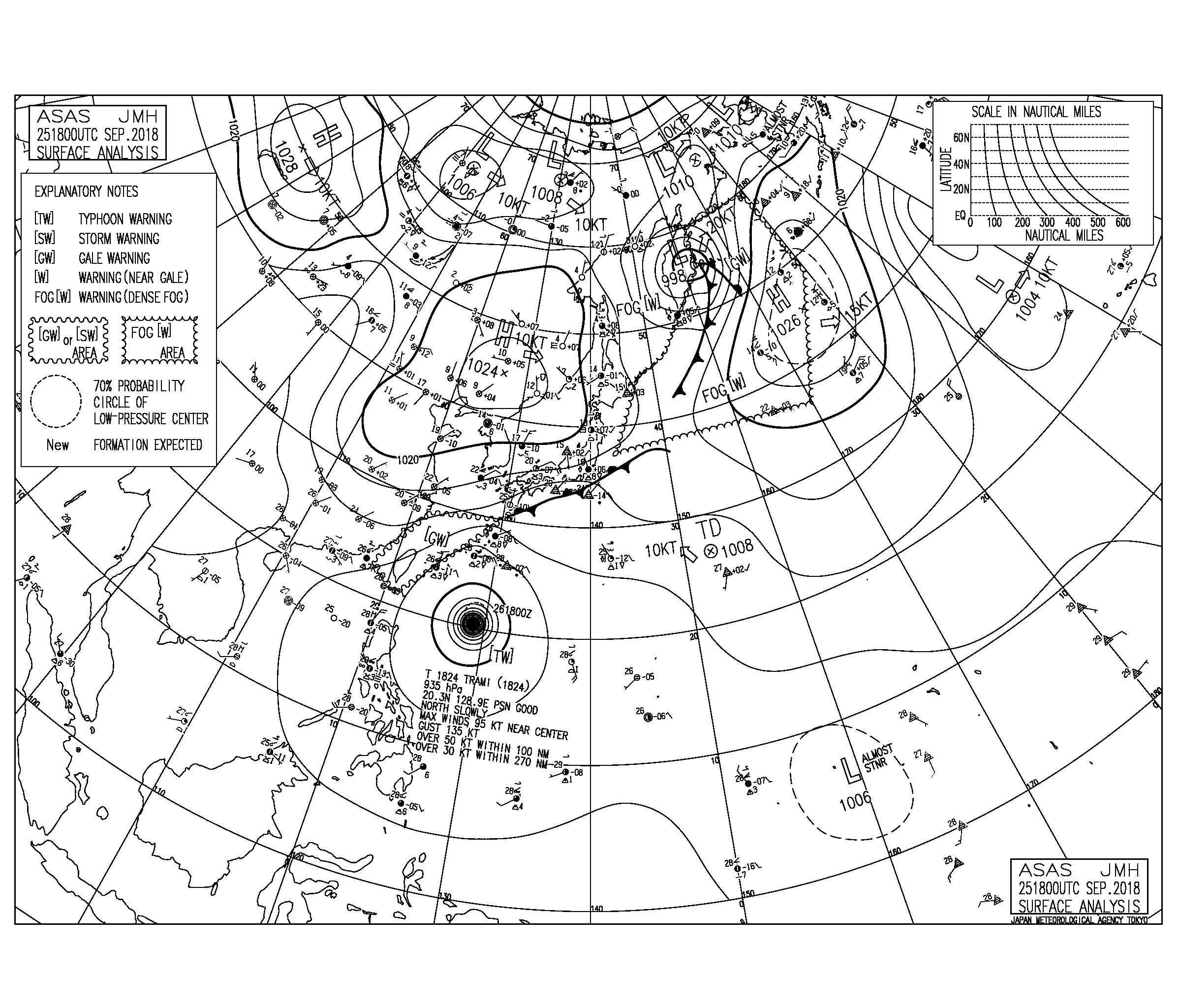 9/26 気圧配置と波情報~、台風24号は北上し本州接近の予報に、西日本はこれから更にサイズアップしてきそう