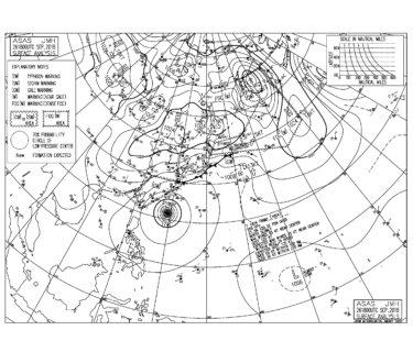 9/27 気圧配置と波情報~台風24号の南西うねりで太平洋側はサイズアップ、午後から更にうねりの反応が良くなりそう