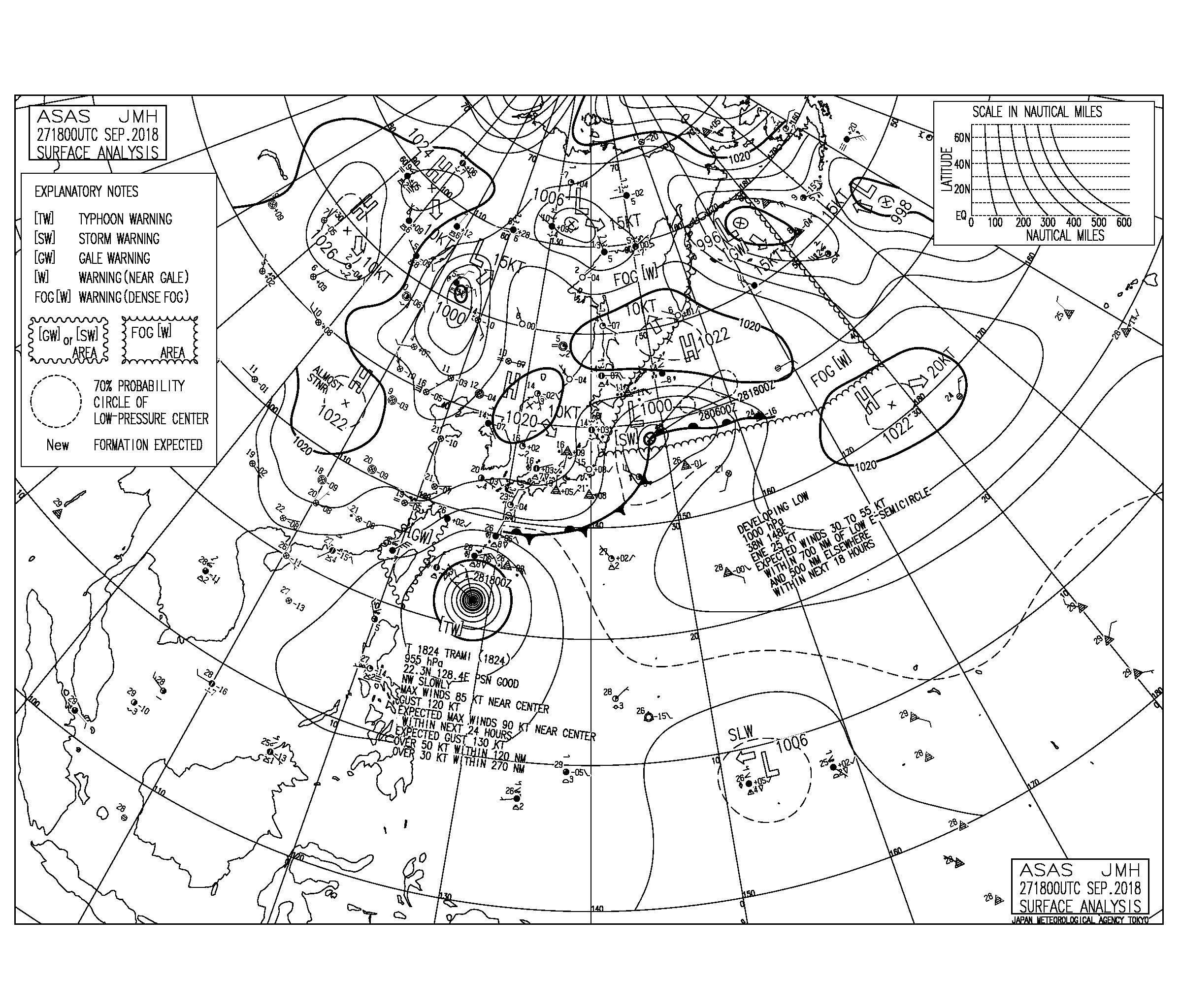 9/28 気圧配置と波情報~台風24号の南西うねりで湘南も頭サイズまでアップ、この週末は土曜から日曜朝一まで楽しめる!