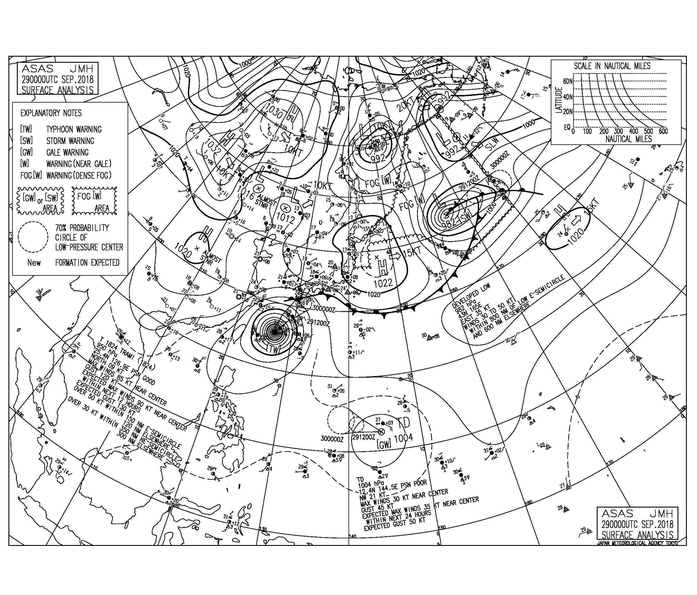 9/29 気圧配置と波情報~明日から明後日にかけて台風24号の暴風に厳重警戒、マリアナ諸島には台風25号が発生!
