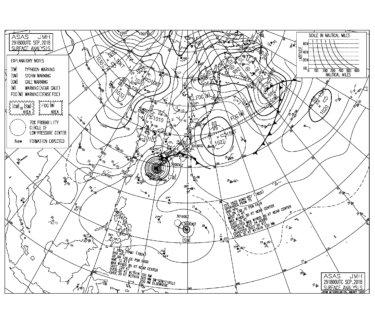9/30 気圧配置と波情報~台風24号の暴風に全国的に厳重警戒の日曜日、関東も夕方から外歩くのも危険なレベルに