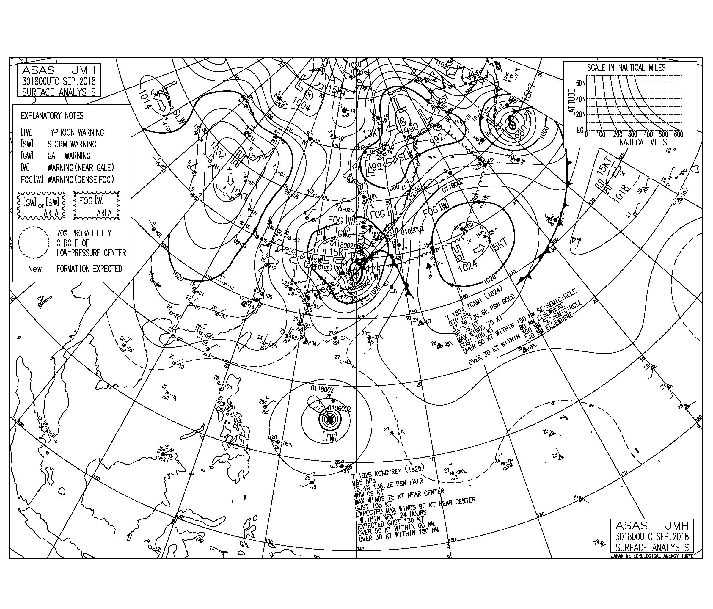 10/1 気圧配置と波情報~台風24号の影響で大荒れなクローズアウト、今週は次の台風25号の動きに要注目