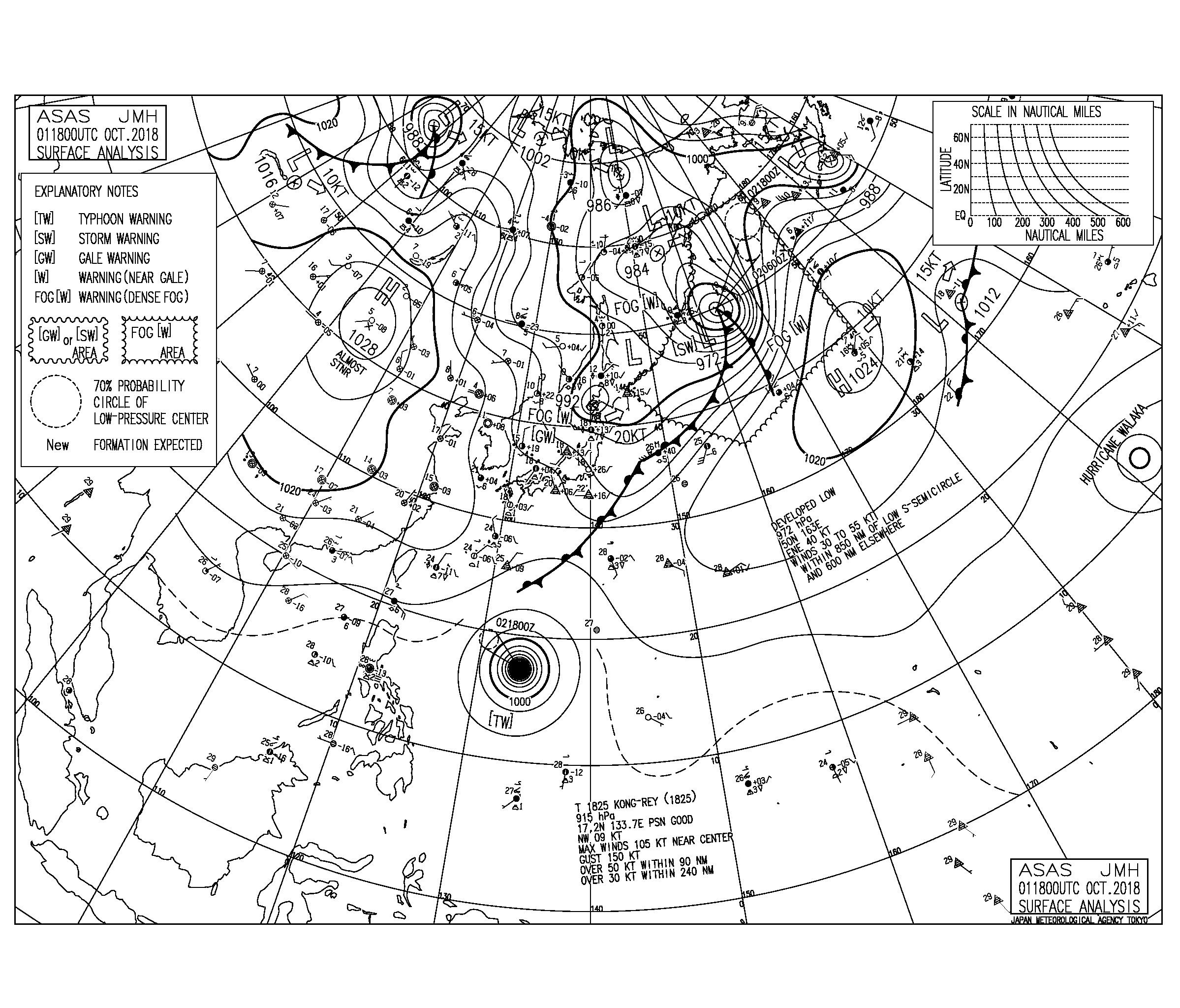 10/2 気圧配置と波情報~台風24号のうねり残り遊べるスタート!25号のうねりは木曜から徐々に反応か