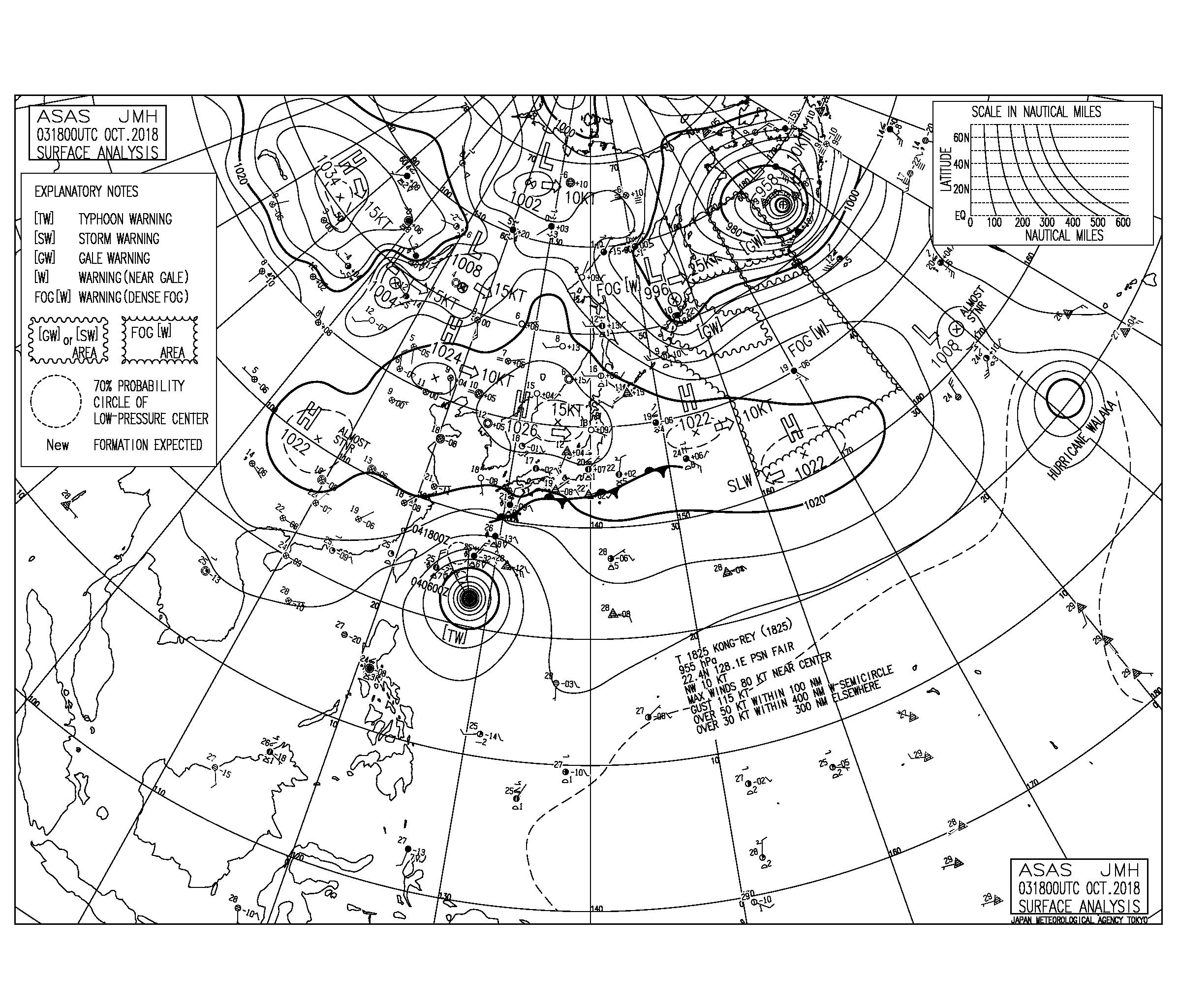 10/4 気圧配置と波情報~台風25号のうねりが湘南でも反応してきた、次第に南西うねりとなり明日と明後日の朝一が狙い目