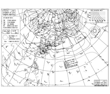 10/5 気圧配置と波情報~台風25号のうねりは一旦トーンダウンするも楽しめる波、明日の朝一も十分楽しめるはず!