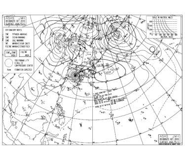 10/6 気圧配置と波情報~台風25号の南西うねりで朝一から胸肩〜頭サイズのグッドコンディション!