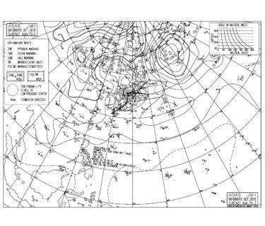 10/7 気圧配置と波情報~台風25号は温帯低気圧になるも北日本は警戒継続、千葉と湘南は南西の強風をかわすポイントへ