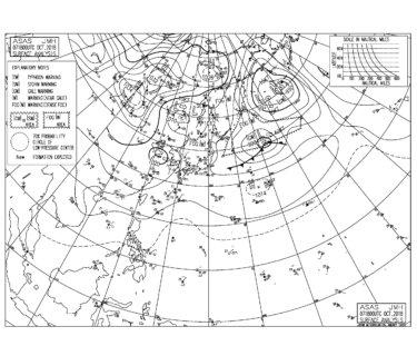 10/8 気圧配置と波情報~千葉は朝一から北〜北東の風が強く入る、湘南はオフショアだけどスモールサイズに