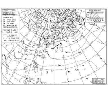10/10 気圧配置と波情報~千葉は東うねりが続き胸肩サイズのファンコンディション、湘南は今朝も厳しいサイズ