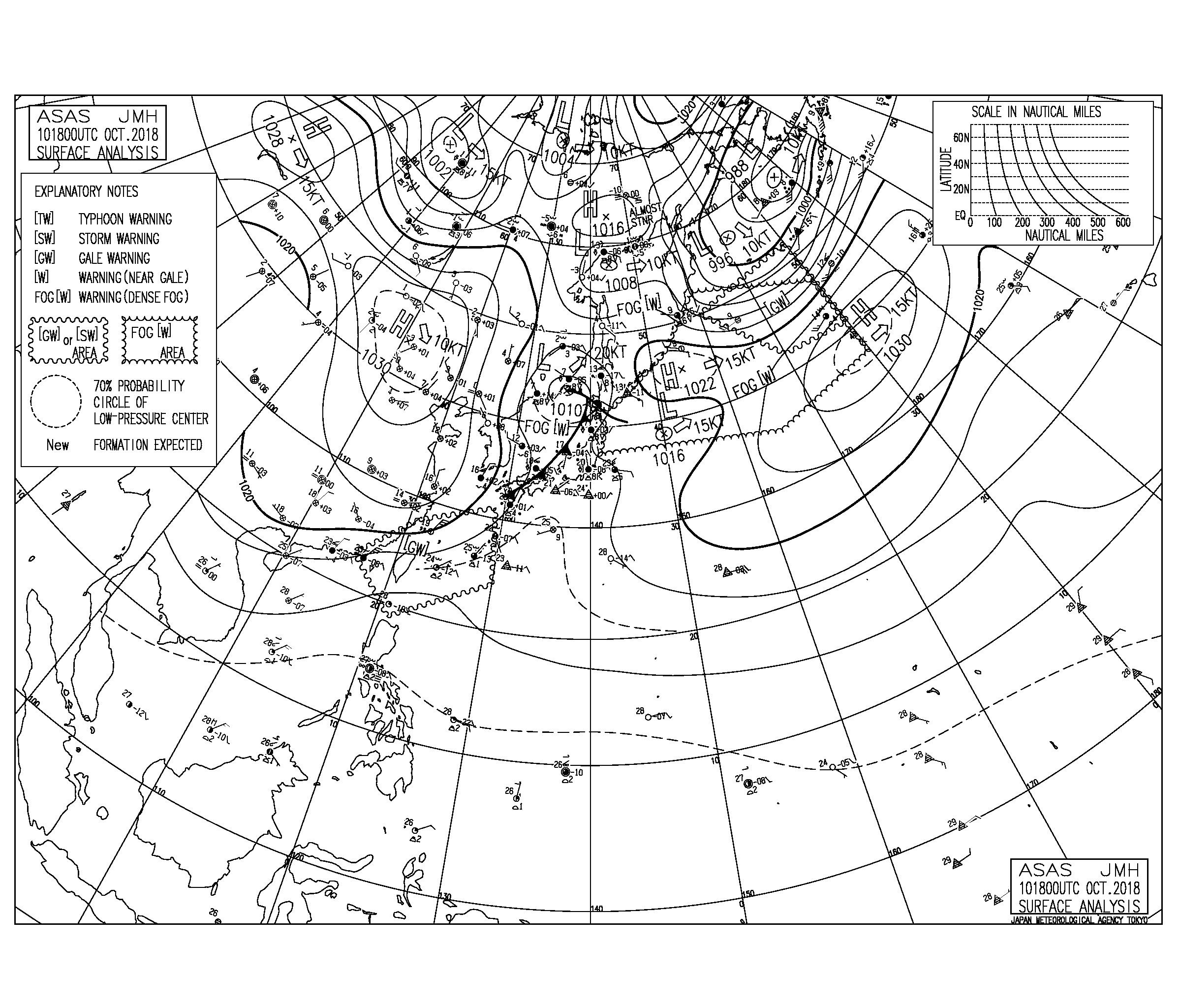 10/11 気圧配置と波情報~千葉は東うねりがなんとか続き一宮周辺では楽しめる波、湘南は全域でほぼフラット