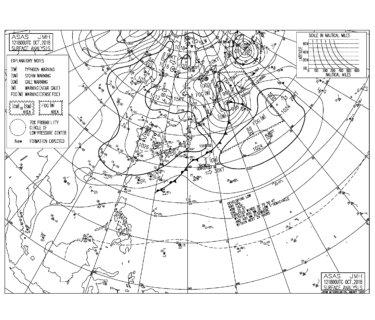 10/13 気圧配置と波情報~千葉は朝一から北東の風が強く入る悩ましいパターン、湘南は吉浜で東うねりに少し反応